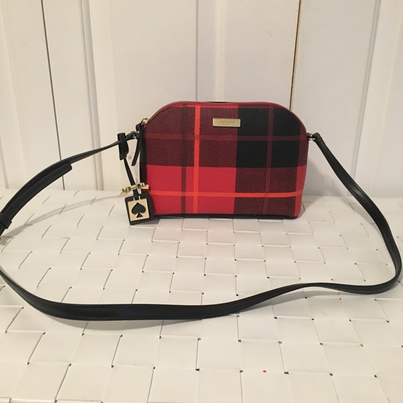 Kate Spade Hanna Brightwater Drive Woodland Place Plaid Red Carpet Crossbody Bag